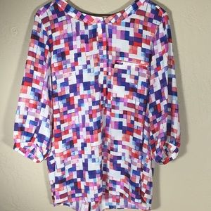 NYDJ blouse Henley multicolored tile pattern 1x